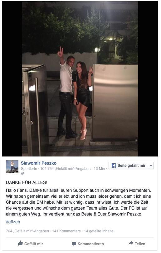 Slawomir Peszko sagt via Facebook Tschüss.