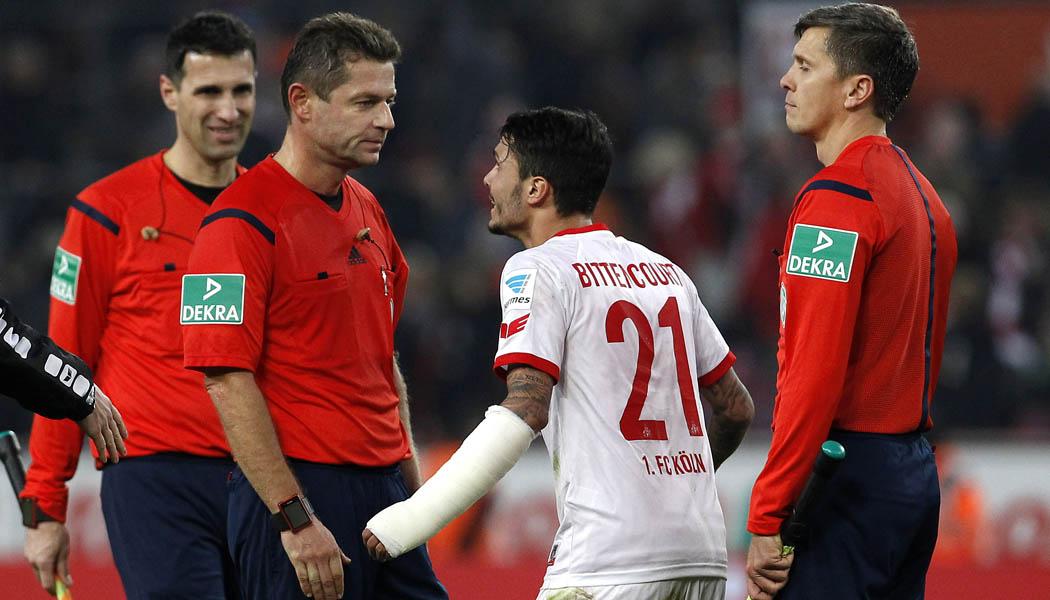 Der nächste Schiri-Skandal in Köln: Der 1. FC Köln bekommt gegen 1899 Hoffenheim gleich zwei Elfmeter nicht. Leonardo Bittencourt kann es nicht glauben. (Foto: MV)