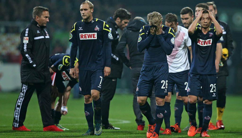 Hinterher überall betrübte Gesichter: Der 1. FC Köln verliert in der 2. Runde des DFB-Pokal bei Werder Bremen. (Foto: DeFodi / Cathrin Müller)