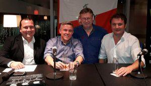 Der FC-Stammtisch mit Holger Schmidt, Olaf Janßen, Ralf Friedrichs und Thomas Wagner.