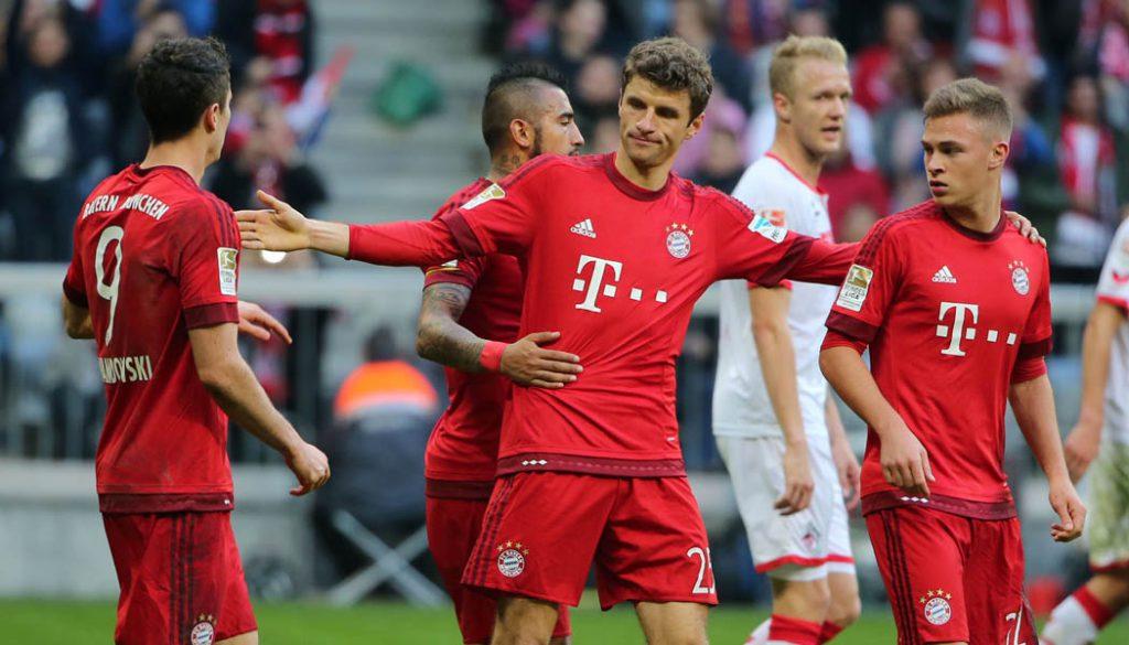 Thomas Müller nach seinem Elfmeter-Tor: Der 1. FC Köln verliert beim FC Bayern mit 0:4. (Foto: Philippe Ruiz)