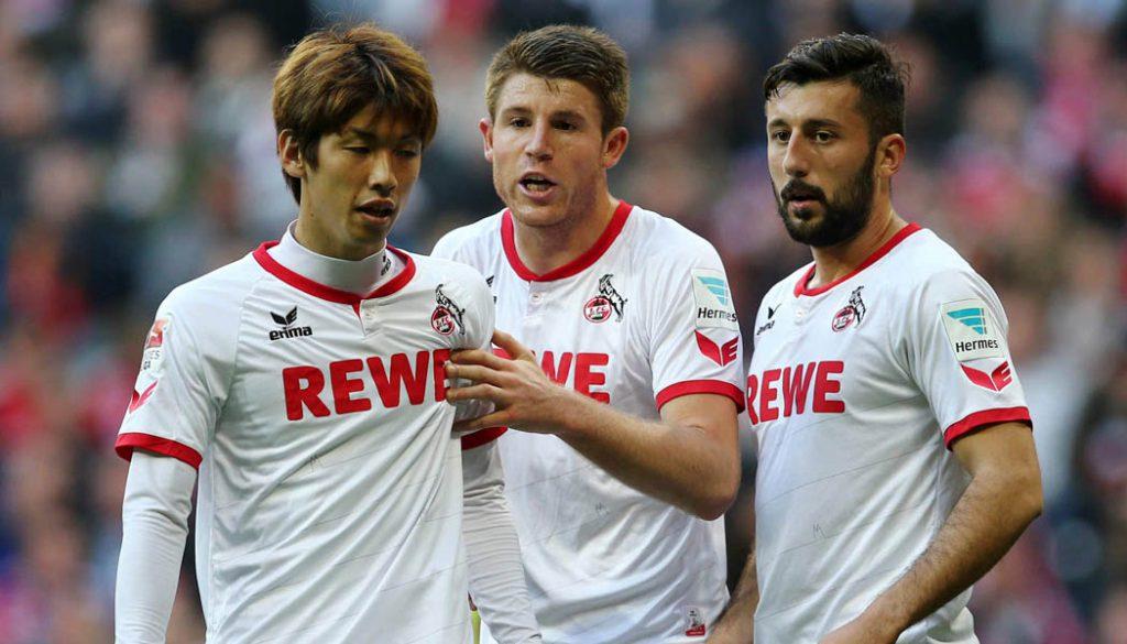 Yuya Osako, Dominique Heintz und Dominic Maroh: Der 1. FC Köln verliert beim FC Bayern mit 0:4. (Foto: sampics)
