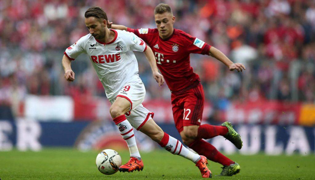 Dusan Svento gegen Joshua Kimmich: Der 1. FC Köln verliert beim FC Bayern mit 0:4. (Foto: sampics)