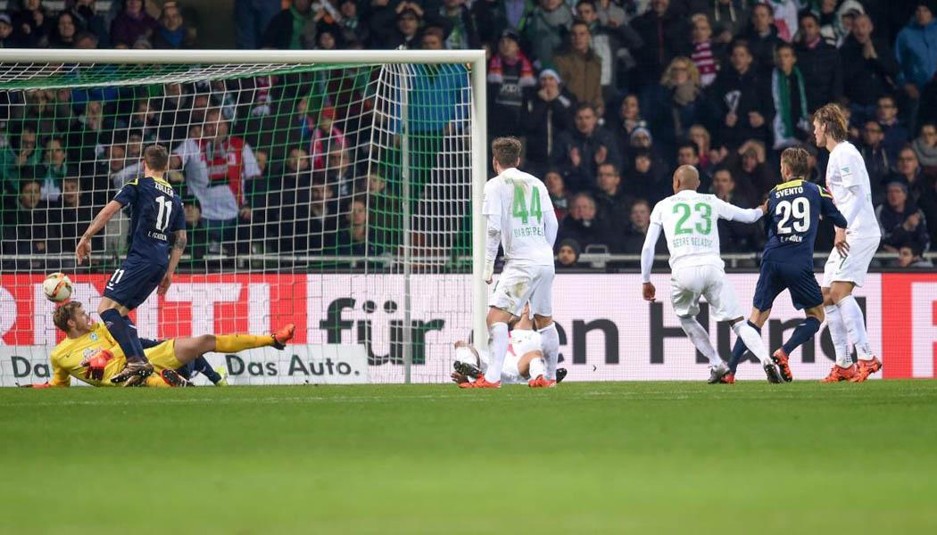 Dusan Svento erzielt das 1:1 gegen Werder Bremen. (Foto: Ulmer/Hake)