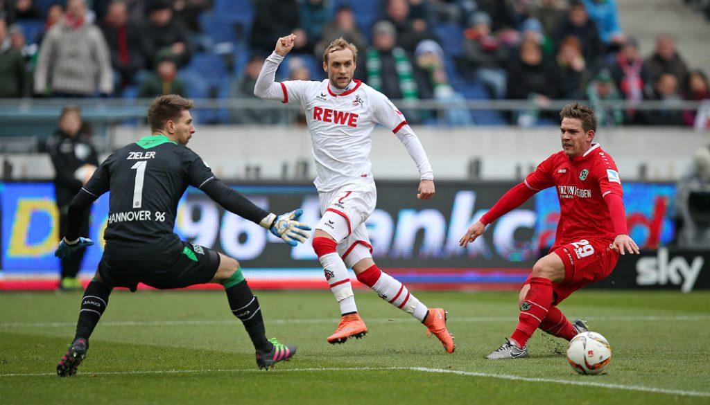 Marcel Risse bereits das 1:0 vor: Der 1. FC Köln gewinnt in Hannover mit 2:0. (Foto: CM)