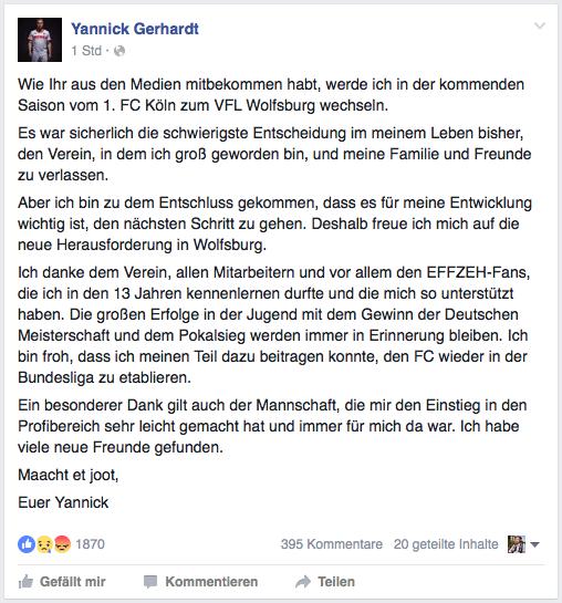 Der Post von Yannick Gerhardt auf Facebook. (Foto: Screenshot)