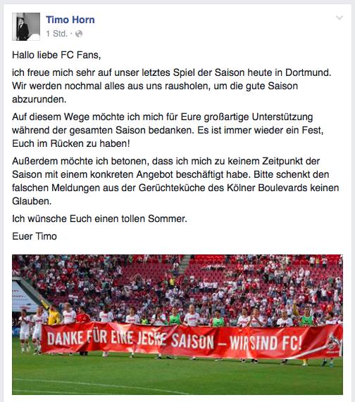 Das Statement von Timo Horn auf Facebook. (Foto: Screenshot)