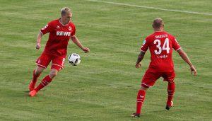 Artjoms Rudnevs und Konstantin Rausch bei ihren Debüts im Trikot des 1. FC Köln. (Foto: GBK)