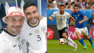 Lukas Podolski feiert mit dem Viertelfinal-Helden Jonas Hector nach dem Sieg über Italien.