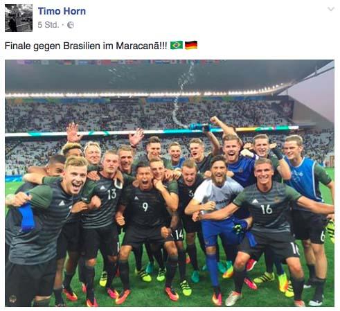 So feiert Timo Horn den Final-Einzug. (Foto: Facebook)
