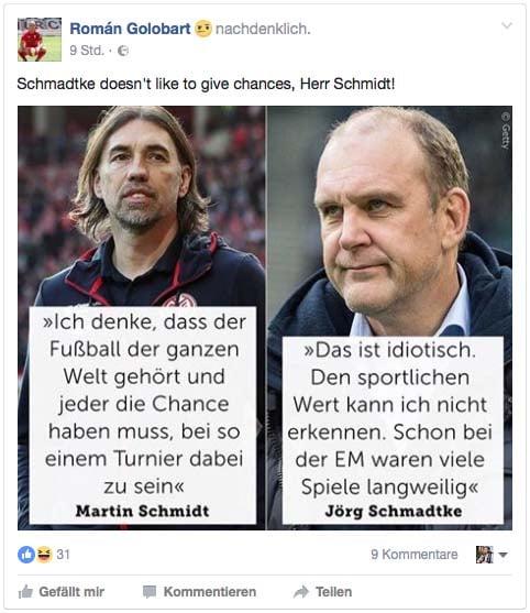 Kritik via Facebook. (Foto: facebook.com/golobart4)